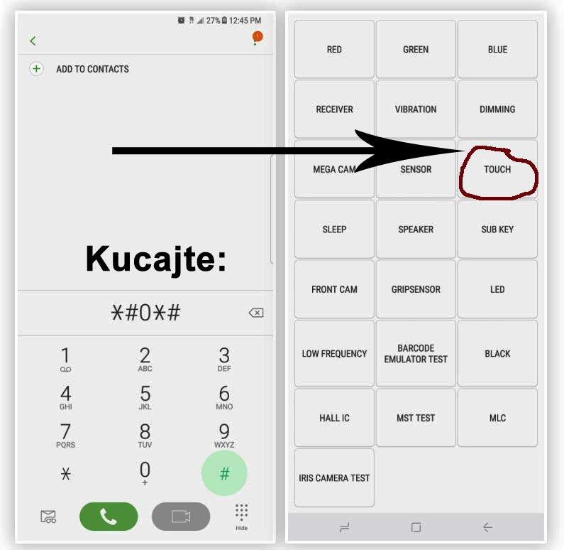 provera ispravnosti ekrana Note 9